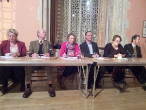 Getting reading for the Hustings - left to right: Ros Kayes (Lib/Dem), David Glossop (UKIP), Katie Martin (chair – BBC Radio Solent presenter), Peter Barton (Green), Rachel Rogers (Labour), Oliver Letwin (Conservative).